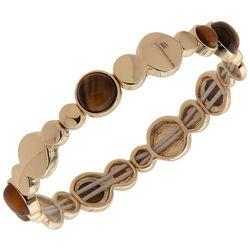 Chaps Tigerseye & Gold Disc Stretch Bracelet