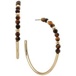 Chaps Gold Tone Wood Bead C-Hoop Earrings