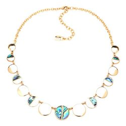 Chaps Abalone Shell Disc Gold Tone Collar Necklace