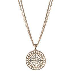 Chaps Circular Pendant Gold Tone Necklace