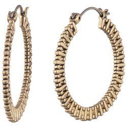 Chaps 30mm Gold Tone Textured Hoop Earrings