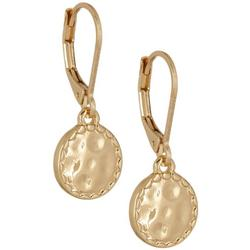 Gold Tone Hammered Disc Drop Earrings