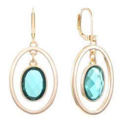 Gloria Vanderbilt  Oval Suspended Stone Drop Earrings