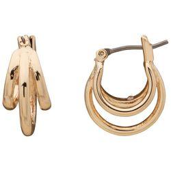 Chaps Gold Tone Triple Row Hoop Earrings