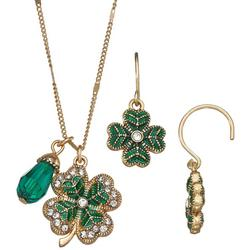 Rhinestone Clover Earring & Necklace Set