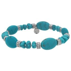 Chaps Turquoise Blue Stones Stretch Bracelet