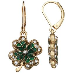 Napier Goldtone Emerald Rhinestone Clover Drop Earrings