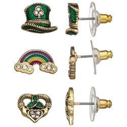 Goldtone Lucky Trio 3-Pc Earring Set