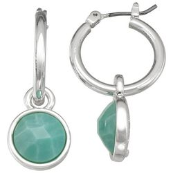 Napier Dropped Aqua Stone Hoop Earrings