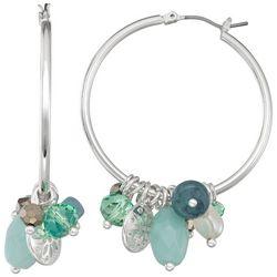 Napier Silver Tone Cluster Hoop Earrings