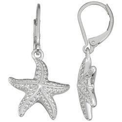 Napier Silver Tone Starfish Lever Back Drop Earrings