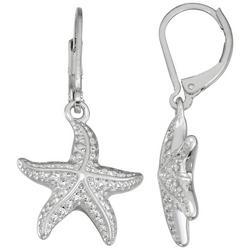 Silver Tone Starfish Lever Back Drop Earrings