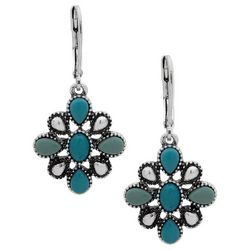 Chaps Textured Turquoise Blue Flower Drop Earrings