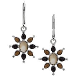 Chaps Sunburst Flower Dangle Earrings
