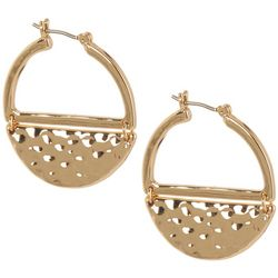 Chaps Gold Tone Moon Hoop Earrings