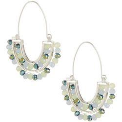 Chaps Silver Tone Beaded Semicircle Earrings