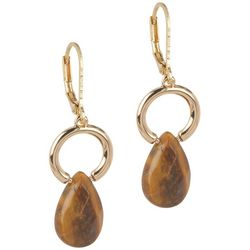 Chaps Ring With Faceted Teardrop Faux Tigerseye Earrings