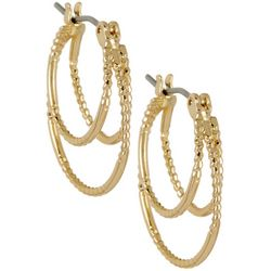 Napier Triple Row Gold Tone Hoop Earrings
