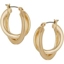 Napier Gold Tone Double Twist Hoop Earrings
