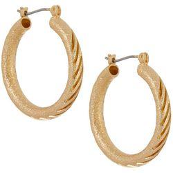 Napier Textured Tubular Gold Tone Hoop Earrings