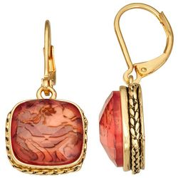 Napier Gold Tone Berry Square Faceted  Drop Earrings