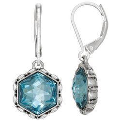 Napier Aqua Hexagonal  Stone Silver Tone Drop Earrings