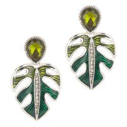 Napier Silver Tone Enamel Monstera Lead Drop Earrings