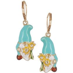 Napier Goldtone Enamel Gnome Drop Earrings