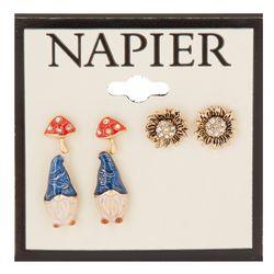Napier Trio Enamel Gnome & Mushroom Stud Earring Set