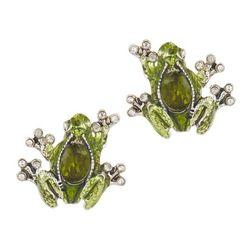 Napier Silver Tone Enamel Frog Post Back Earrings
