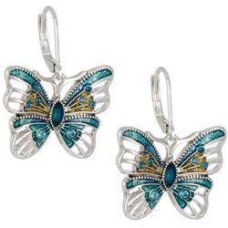 Napier Silver Tone Butterfly Lever Back Drop Earrings