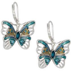 Silver Tone Butterfly Lever Back Drop Earrings