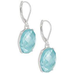 Napier Silvertone Faceted Aqua Drop Earrings
