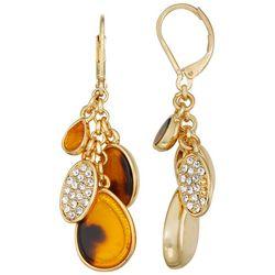 Napier Gold Tone Shakey Tortoise Drop Earrings