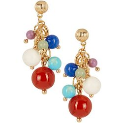 Napier Bead Cluster Gold Tone Drop Earrings