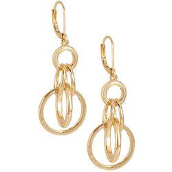 Napier Linked Ring Gold Tone Earrings