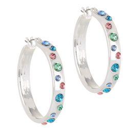 Gloria Vanderbilt Rainbow Rhinestone Accented Hoop Earrings