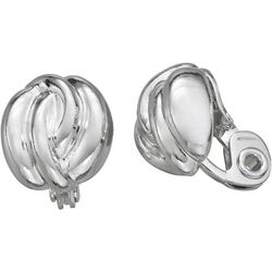 Napier Small Silver Tone Twist Clip Earrings
