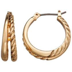 Napier Gold Tone Double Row Hoop Earrings