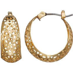 Napier Gold Tone Flower Cutout Hoop Earrings