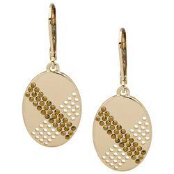 Nine West Gold Tone Oval Crystal Drop Earrings