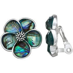 Napier Abalone Flower Clip Earrings