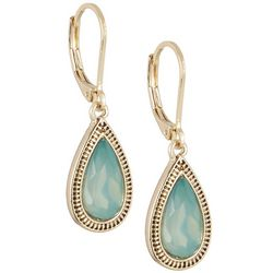 Napier Lt Green & Gold Tone Teardrop Earrings