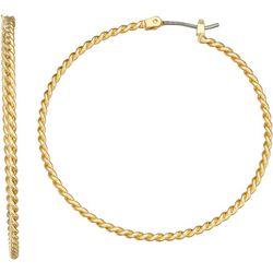 Napier Gold-Tone Rope Texture Hoop Earrings