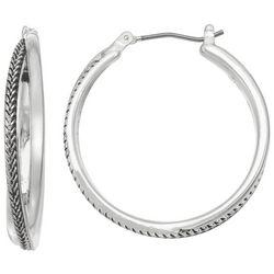 Napier Silver Tone Crossed Hoop Earrings