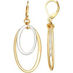 Napier Two Tone Oval Ring Drop Earrings