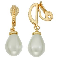 Napier Gold Tone Simulated Pearl Clip Earrings