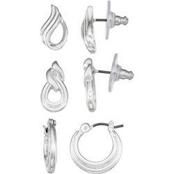 Napier Silvertone Oval Hoop Earrings