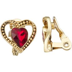 Napier Goldtone Heart Clip Earrings