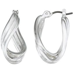 Napier Silver Tone Twisted Textured Hoop Earrings